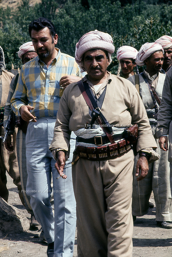 Iraq 1968 <br /> Mulla Mustafa Barzani with the French journalist, Eric Rouleau in the mountains  <br /> Irak 1968 <br /> Mulla Mustafa Barzani avec le journaliste francais Eric rouleau dans les montagnes