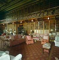 The grand library at Alnwick Castle, Northumberland