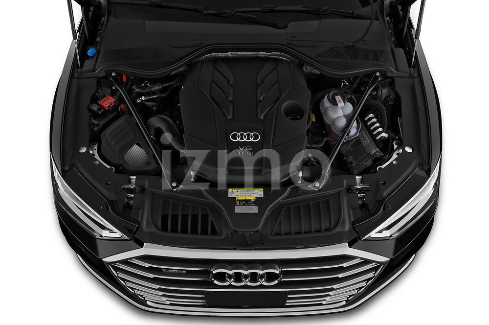 Car Stock 2019 Audi A8-L - 4 Door Sedan Engine  high angle detail view