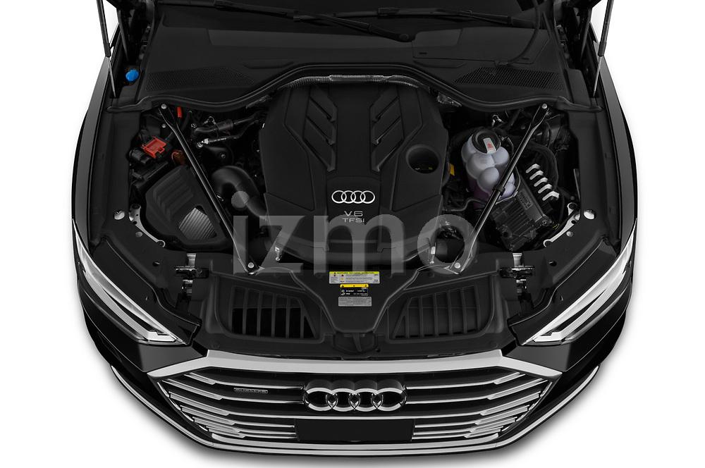 Car Stock 2019 Audi A8-L - 4 Door Sedan Engine  high angle detail view