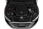 High angle engine detail of a 2019 Audi A8 L . 4 Door Sedan