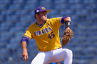 East Carolina Pirates pitcher Danny Beal (45) during a game against the Memphis Tigers on May 25, 2021 at BayCare Ballpark in Clearwater, Florida.  (Mike Janes/Four Seam Images)