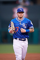 Oklahoma City Dodgers right fielder Alex Verdugo (27) jogs to the dugout during a game against the Colorado Springs Sky Sox on June 2, 2017 at Chickasaw Bricktown Ballpark in Oklahoma City, Oklahoma.  Colorado Springs defeated Oklahoma City 1-0 in ten innings.  (Mike Janes/Four Seam Images)