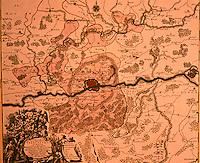 Frankfurt: Karte vom Frankfurter Territorium, Kupferstich um 1740. Reference only.