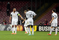 Thursday 27 February 2014<br /> Pictured: Swansea captain Ashley WIlliams (L) tells off his team mates after his team conceded a third goal<br /> Re: UEFA Europa League, SSC Napoli v Swansea City FC at Stadio San Paolo, Naples, Italy.