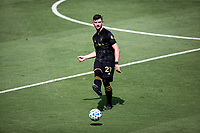 LOS ANGELES, CA - AUGUST 22: Tristan Blackmon #27 of the LAFC moves with the ball during a game between Los Angeles Galaxy and Los Angeles FC at Banc of California Stadium on August 22, 2020 in Los Angeles, California.