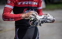 Julien Bernard (FRA/Trek-Segafredo) cleaning his racing shoes after the restday 3 training ride with Team Trek-Segafredo<br /> <br /> 100th Giro d'Italia 2017
