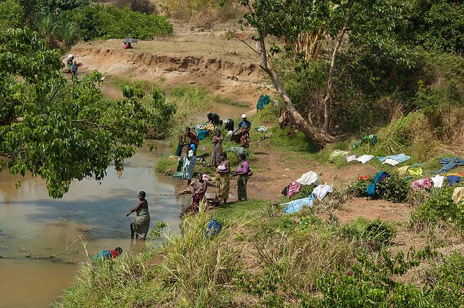 Laundry day, near Mchinji, Malawi