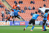 Blackpool's Michael Nottingham vies for possession with Swindon Town's Ezekiel Fryers<br /> <br /> Photographer Kevin Barnes/CameraSport<br /> <br /> The EFL Sky Bet League One - Blackpool v Swindon Town - Saturday 19th September 2020 - Bloomfield Road - Blackpool<br /> <br /> World Copyright © 2020 CameraSport. All rights reserved. 43 Linden Ave. Countesthorpe. Leicester. England. LE8 5PG - Tel: +44 (0) 116 277 4147 - admin@camerasport.com - www.camerasport.com