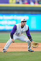 Winston-Salem Dash third baseman Nick Basto (12) on defense against the Salem Red Sox at BB&T Ballpark on April 20, 2014 in Winston-Salem, North Carolina.  The Dash defeated the Red Sox 10-8.  (Brian Westerholt/Four Seam Images)