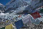 Prayer Flags at Everest Base Camp with the Khumbu Icefall in the background