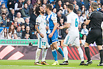 Real Madrid Marcelo and R.C. Deportivo Florin Andone during La Liga match between Real Madrid and R. C. Deportivo at Santiago Bernabeu Stadium in Madrid, Spain. January 18, 2018. (ALTERPHOTOS/Borja B.Hojas)