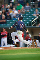 Scranton/Wilkes-Barre RailRiders right fielder Billy McKinney (10) hits a single during the first game of a doubleheader against the Rochester Red Wings on August 23, 2017 at Frontier Field in Rochester, New York.  Rochester defeated Scranton 5-4 in a game that was originally started on August 22nd but was postponed due to inclement weather.  (Mike Janes/Four Seam Images)