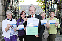 NO REPRO FEE. 7/10/2010. ALZHEIMER SOCIETY PRE-BUDGET SUBMISSION. ÊL-R Alzheimer Society of Ireland supporters Ann-Marie Russell, Chairperson of the Meath Branch, Avril Dooly Alzheimer society supporter, Alzheimer Society of Ireland CEO Maurice O'Connell, carer Marjorie Dowling from Dublin and Mary Dwan volunteer. They took to the gates of the Dail during the launch of the charityÕs Pre-Budget Submission to call on the Government to helpÊ the tens of thousands of people living with dementia in Ireland and their carers. The Alzheimer Society of Ireland has warned the Government that further funding cuts to its services in the coming Budget will see some of the 44,000 people living with dementia and their 50,000 carers left without even basic support though community services. The charity made its call at the launch of its Pre-Budget Submission 2011 as it revealed that many carers are now at crisis point as figures show waiting lists for dementia services have shot up by 33% in the last year.ÊÊPicture James Horan/Collins Photos