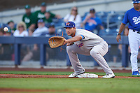 Midland RockHounds first baseman Matt Olson (21) waits for a throw during a game against the Tulsa Drillers on June 2, 2015 at Oneok Field in Tulsa, Oklahoma.  Midland defeated Tulsa 6-5.  (Mike Janes/Four Seam Images)