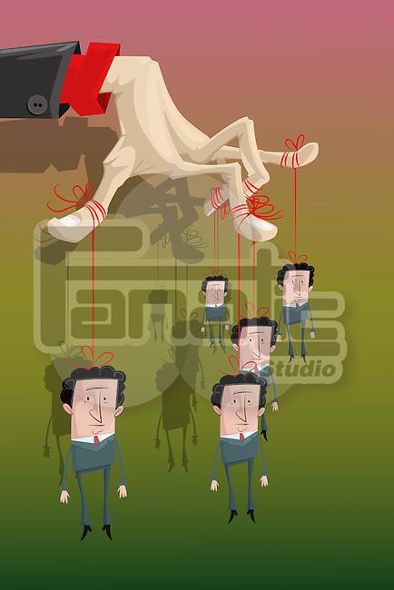 Illustrative image of businessman controlling his subordinates representing bondage