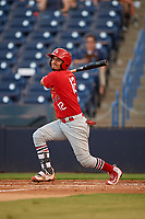 Palm Beach Cardinals shortstop Jose Martinez (12) follows through on a swing during a game against the Tampa Yankees on July 25, 2017 at George M. Steinbrenner Field in Tampa, Florida.  Tampa defeated Palm beach 7-6.  (Mike Janes/Four Seam Images)