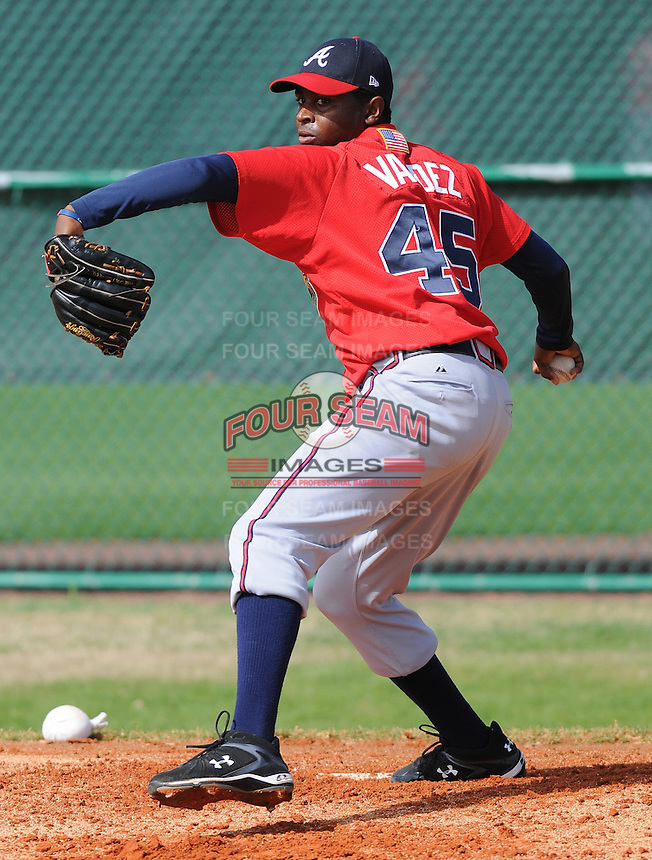 17 March 2009: RHP Luis Valdez of the Atlanta Braves at Spring Training camp at Disney's Wide World of Sports in Lake Buena Vista, Fla. Photo by:  Tom Priddy/Four Seam Images