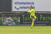 goalkeeper Aukje Van Seijst (1) of KRC Genk pictured during a female soccer game between Eendracht Aalst and KRC Genk on the third matchday of the 2021 - 2022 season of Belgian Scooore Womens Super League , Saturday 4 September 2021  in Aalst , Belgium . PHOTO SPORTPIX    KRISTOF DE MOOR