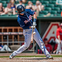 31 May 2018: New Hampshire Fisher Cats catcher Max Pentecost connects against the Portland Sea Dogs at Northeast Delta Dental Stadium in Manchester, NH. The Sea Dogs defeated the Fisher Cats 12-9 in extra innings. Mandatory Credit: Ed Wolfstein Photo *** RAW (NEF) Image File Available ***