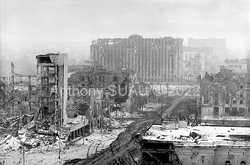 Grozny, Chechyna.January 1995.Overview of Grozny just days after it was declare to be in Russian control. The Presidential Palace in the center remains a shell, as does much of the city due to the heavy bombardment by the Russian artillery.