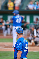 Ogden Raptors manager Austin Chubb (38) looks on as Brandon Lewis (47) bats against the Grand Junction Rockies at Lindquist Field on July 23, 2019 in Ogden, Utah. The Raptors defeated the Rockies 11-4. (Stephen Smith/Four Seam Images)