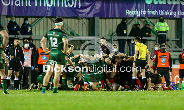 27th December 2020 | Connacht  vs Ulster <br /> <br /> Scrum set during the PRO14 Round 9 clash again Connacht at the Sportsground in Galway, Ireland. Photo by John Dickson/Dicksondigital
