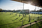 Harwich & Parkeston 2 Barnston 0, 11/11/2017. Royal Oak Ground, Andreas Carter Essex & Suffolk Border League Premier Division. Harwich & Parkeston reached the final of the Amateur Cup in 1953 at Wembley Stadium and played in front of a crowd of 100,000. <br /> Penalty area action in the low Autumn sunshine at the Royal Oak Ground. Photo by Simon Gill.