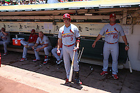 OAKLAND, CA - JUNE 30:  Carlos Beltran #3 of the St. Louis Cardinals stands in the dugout before the game against the Oakland Athletics at O.co Coliseum on Sunday June 30, 2013 in Oakland, California. Photo by Brad Mangin