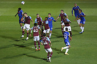 A crowded penalty area as Colchester go on the attack during Colchester United vs West Ham United Under-21, EFL Trophy Football at the JobServe Community Stadium on 29th September 2020