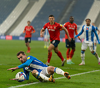 7th November 2020 The John Smiths Stadium, Huddersfield, Yorkshire, England; English Football League Championship Football, Huddersfield Town versus Luton Town; Harry Toffolo of Huddersfield Town slides to keep ball in play