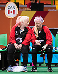 Whitney Bogart and Jillian McSween, Rio 2016 - Goalball. <br /> Team Canada competes in Women's Goalball preliminary against China // Équipe Canada participe aux préliminaires du goalball féminin contre la Chine. 12/09/2016.