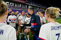 ORLANDO CITY, FL - FEBRUARY 18: Vlatko Andonovski head coach of the United States talks with his team during a game between Canada and USWNT at Exploria Stadium on February 18, 2021 in Orlando City, Florida.
