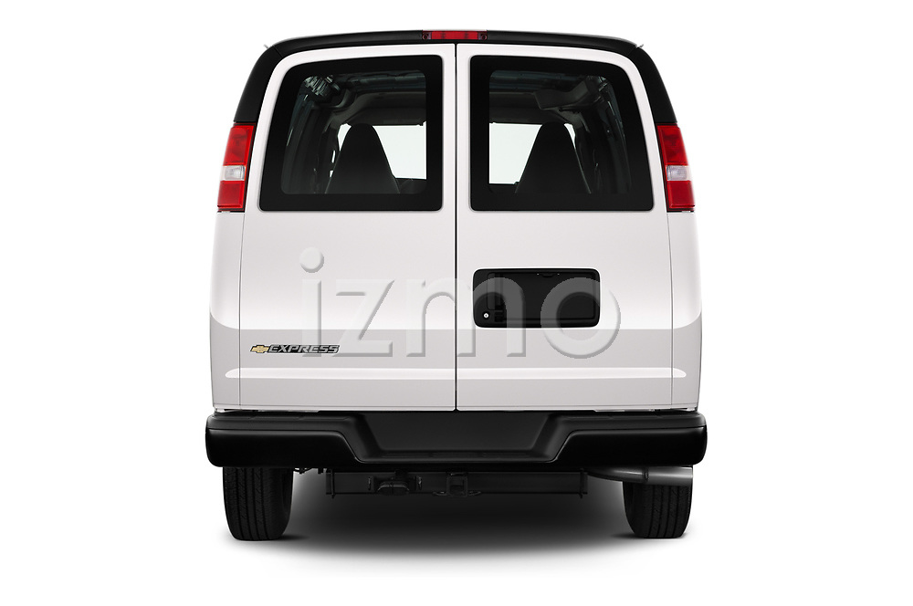 Straight rear view of 2020 Chevrolet Express-Cargo WT 4 Door Cargo Van Rear View  stock images