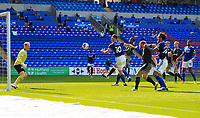 12th September 2020; Cardiff City Stadium, Cardiff, Glamorgan, Wales; English Championship Football, Cardiff City versus Sheffield Wednesday; Kieffer Moore of Cardiff City heads narrowly wide of the goal