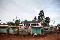 Small roadside shops in the Kenyan village of Iten. The village hosts some of the world's fastest marathon runners who benefit from its high altitude and  general culture of excellence in athletics. It is  fast becomeing a desination for serious athletes and long distance training.