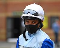 Jockey Sean Levey during Horse Racing at Salisbury Racecourse on 13th August 2020