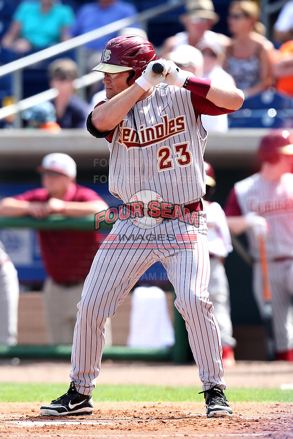 Florida State Seminoles outfielder James Ramsey #23 during a scrimmage against the Philadelphia Phillies at Brighthouse Field on February 29, 2012 in Clearwater, Florida.  Philadelphia defeated Florida State 6-1.  (Mike Janes/Four Seam Images)
