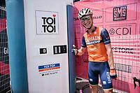 Enrico Gasparotto (ITA/Bahrain Merida) having some fun cueing at the lavatory unit at the stage start in the tiny birth town of Fausto Coppi: Castellania<br /> <br /> 100th Giro d'Italia 2017<br /> Stage 14: Castellania › Oropa (131km)