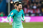 FC Barcelona's forward Leo Messi celebrates after scoring a goal  during the match of Copa del Rey between Atletico de  Madrid and Futbol Club Barcelona at Vicente Calderon Stadium in Madrid, Spain. February 1st 2017. (ALTERPHOTOS/Rodrigo Jimenez)