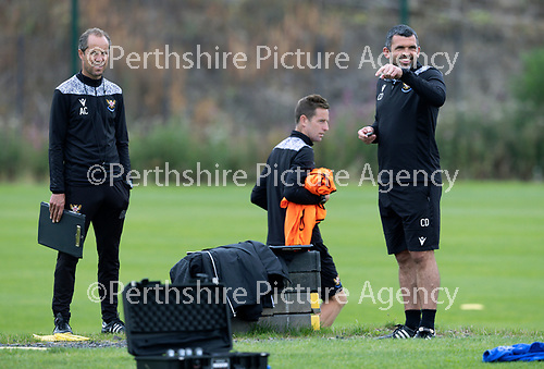 St Johnstone Training…..11.08.20  <br />St Johnstone manager Callum Davidson pictured with coaches Steven MacLean and Alec Cleland during training at McDiarmid Park ahead of tomorrow night's game at Rangers.<br />Picture by Graeme Hart.<br />Copyright Perthshire Picture Agency<br />Tel: 01738 623350  Mobile: 07990 594431