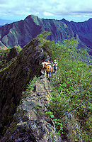 Hikers on the ridge of Kolekole pass, Leeward Oahu