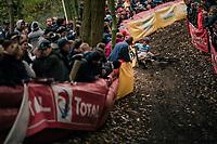 Mick Van Dijke (NED) slipping in the muddy descent<br /> <br /> Men's race<br /> Superprestige Asper-Gavere 2018 (BEL)