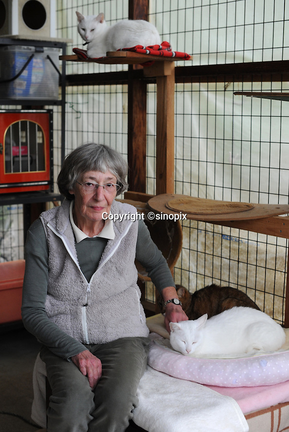 Elizabeth Oliver at the ARK animal refuge outside Osaka, Japan, 26th May 2011.  ARK has rescued more than 200 dogs, 16 cats and a guinea pig from with-in the nuclear exclusion zone surrounding the Fukushima Daiichi nuclear power plant in Japan...© Richard Jones/ sinopix.PHOTO BY SINOPIX
