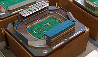 BNPS.co.uk (01202 558833)<br /> Pic: Zachary Culpin/BNPS<br /> <br /> Pictured: Chelsea's Stamford Bridge has changed a lot since this model was made<br /> <br /> An incredible collection of model football stadiums handmade by a soccer fan have sold for almost £19,000 after being found in a storage unit.<br /> <br /> Model-maker John Le Maitre created miniature versions of all 92 English Football League club grounds from the 1980s, as well as the old Wembley Stadium.<br /> <br /> They featured on a Blue Peter episode that year and are a throwback to a bygone age when football grounds with their banks of terraces looked very different to today's super stadiums.