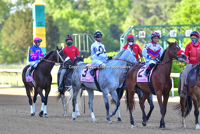 April 18, 2020: Awe Emma (3) with jockey Corey J. Lanerie aboard during the Apple Blossom Handicap at Oaklawn Racing Casino Resort in Hot Springs, Arkansas on April 18, 2020. Ted McClenning/Eclipse Sportswire/CSM