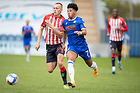 Courtney Senior of Colchester United tries to get beyond Thomas Hamer of Oldham Athletic during Colchester United vs Oldham Athletic, Sky Bet EFL League 2 Football at the JobServe Community Stadium on 3rd October 2020