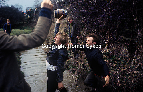 Bottle Kicking and Hare Pie Scrambling. Hallaton Leicestershire UK 1970s. 1971 or 1972.<br /> <br /> If you know the date and the names of anyone in this photo please make contact. Many thanks.