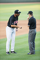 Winston-Salem Dash manager Joel Skinner (35) argues a call with umpire Chris Marco during the game against the Salem Red Sox at BB&T Ballpark on June 16, 2016 in Winston-Salem, North Carolina.  The Dash defeated the Red Sox 7-1.  (Brian Westerholt/Four Seam Images)