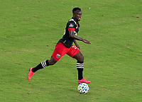 WASHINGTON, DC - SEPTEMBER 06: Mohammed Abu #25 of D.C. United dribbles during a game between New York City FC and D.C. United at Audi Field on September 06, 2020 in Washington, DC.